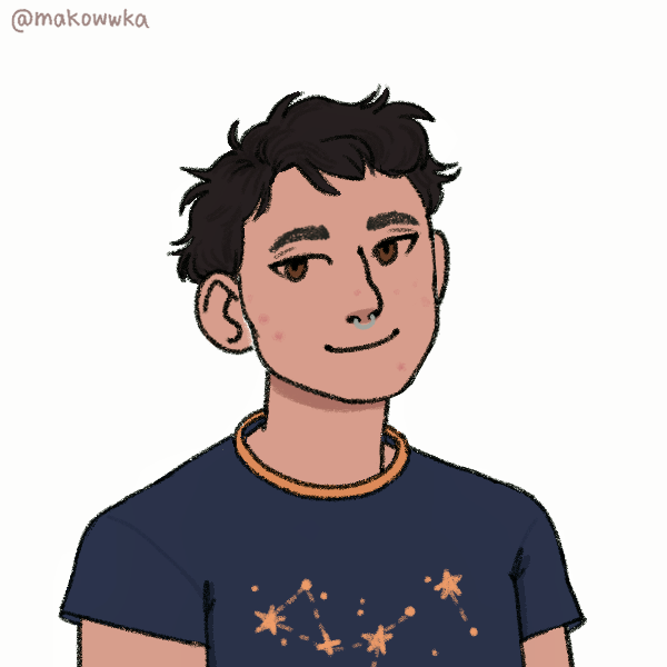 Illustration of August, a nonbinary Asian person, against a plain white background. They have light skin, a mess of dark brown hair, and brown eyes. They are wearing a navy blue shirt with a constellation pattern, and a silver septum ring.