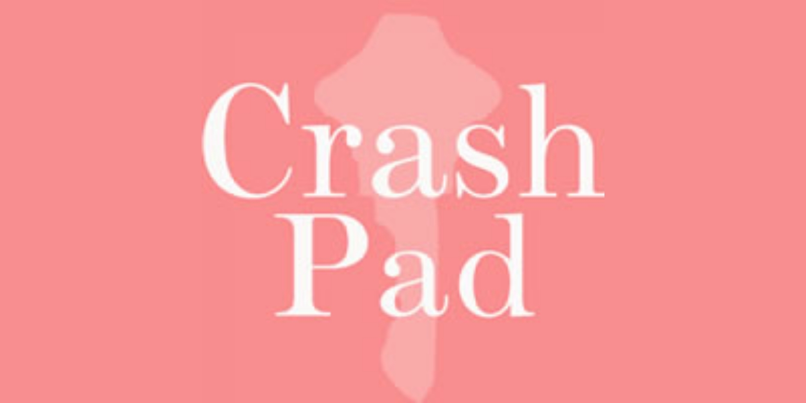 """The silhouette of a light pink key is pictured in front of a darker pink background. The image reads """"Crash Pad"""" in white letters."""