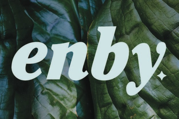 The Shop Enby logo in pastel green letters above a leafy background.