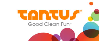 """There are some colorful circles on the bottom righthand side of the image. The logo reads """"TANTUS"""" in bold orange letters. There's a line under that which reads """"Good Clean Fun"""""""